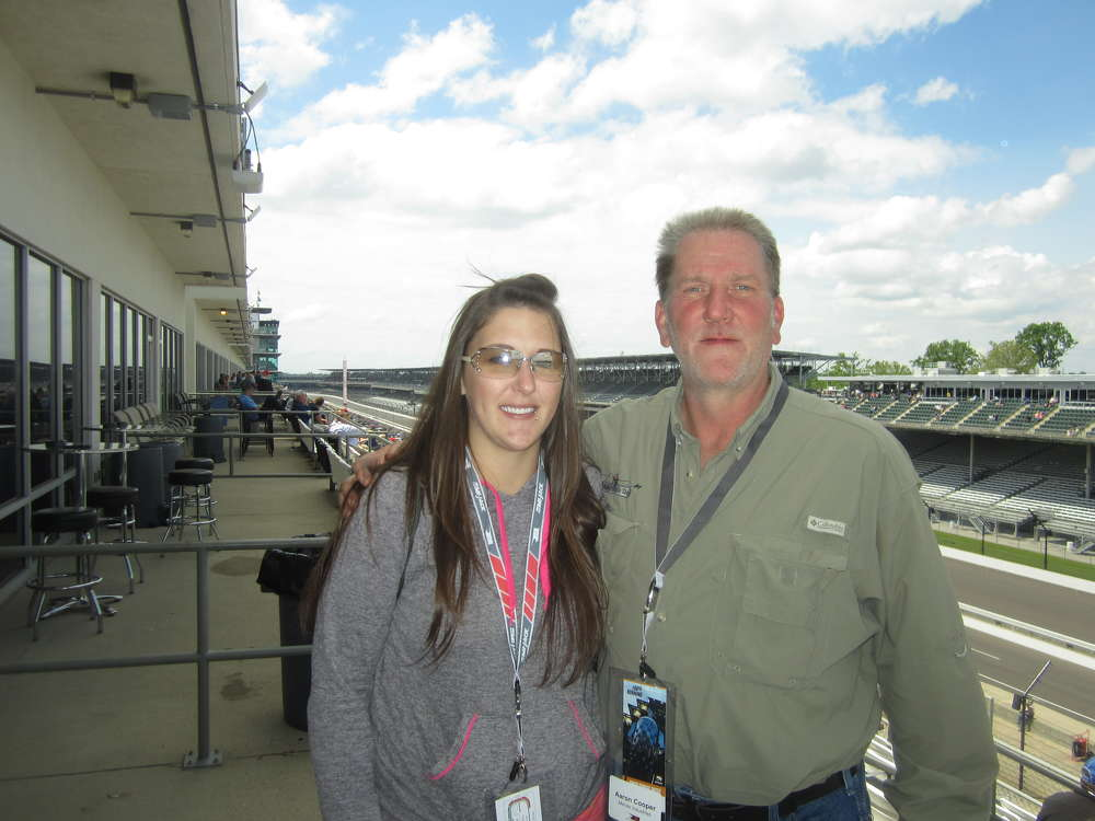 Dan Cooper of Mervis Industries brought his, daughter Amy, to the Howell Tractor & Equipment LLC time trials event at the Indianapolis Motor Speedway.