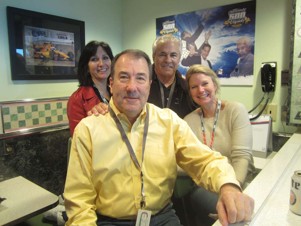 "Inside the ""The Mi-Jack Diner"" are Ted Roth (front), president of Erman Corporation, and (L-R) his wife, Christine; and Lynn and Alan Johnson, Howell Tractor & Equipment LLC."