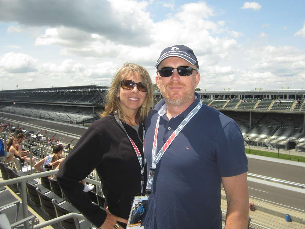 Amanda and Darren King of Phoenix Services watch the cars speed around the track at speeds exceeding 225 mph.