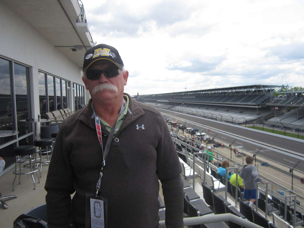 Mike Spradlin of Reyes Group takes in the qualifying day at the Indianapolis 500 motor speedway.