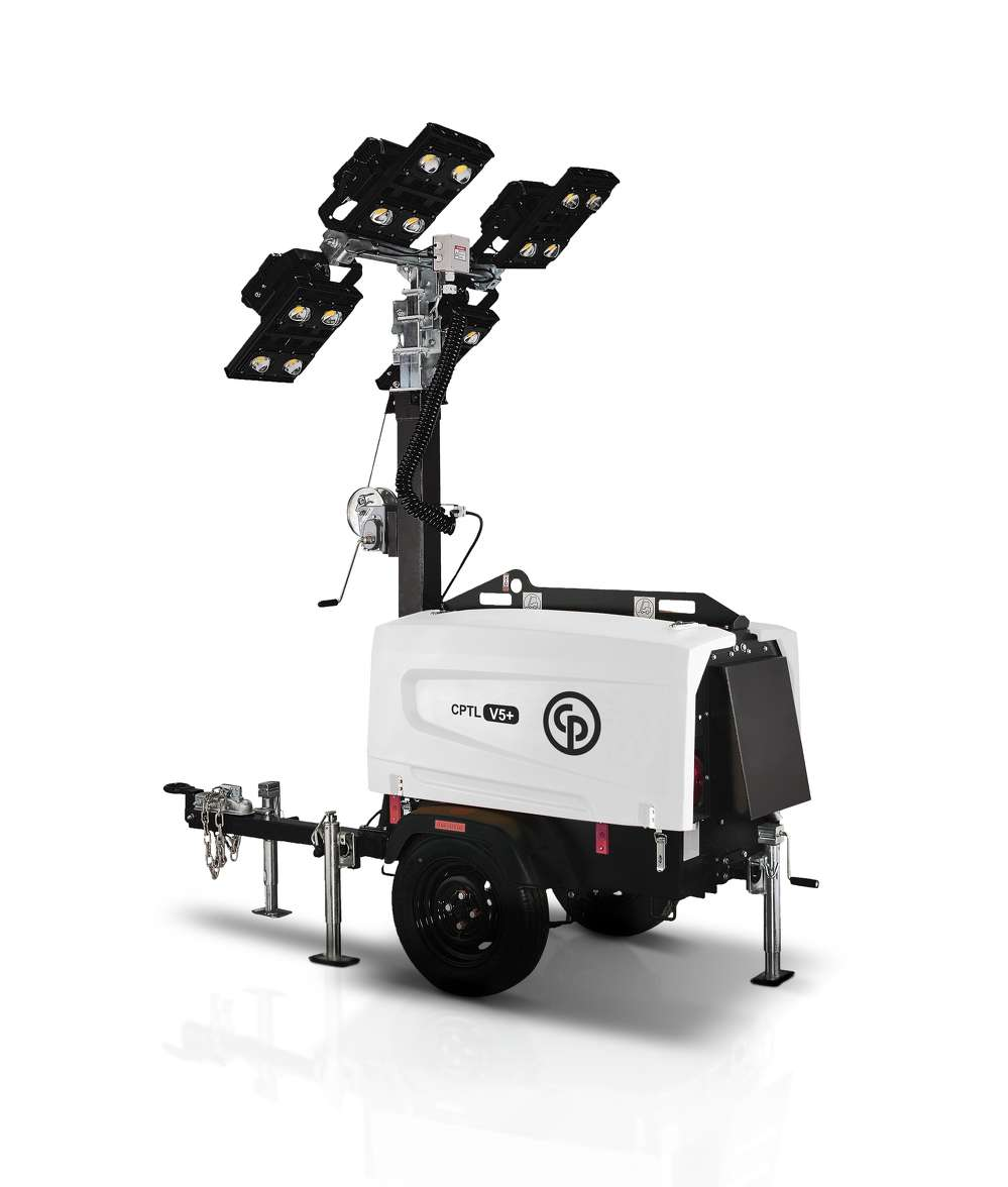 The CPLT V5+ offers high performance and luminosity with four LED lamps that are 350 watts each. With a 28-gal. fuel tank, the new light tower is capable of 150 hours of operation with all four lamps before refueling, maximizing productivity and illumination time.
