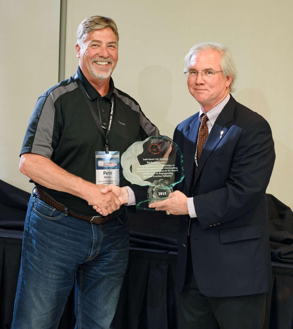 Pete Walker, retired president of Phoenix Steel Erectors, Haymarket, Va., received Lifetime Membership.