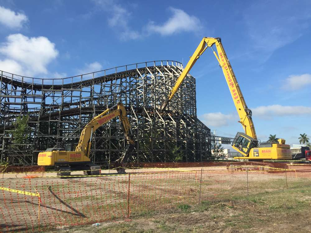 Hoar Construction photo One of South Florida's largest mixed-use projects is experiencing its share of twists and turns, as crews in Dania Beach bring down an iconic roller coaster at the site of a former amusement park.