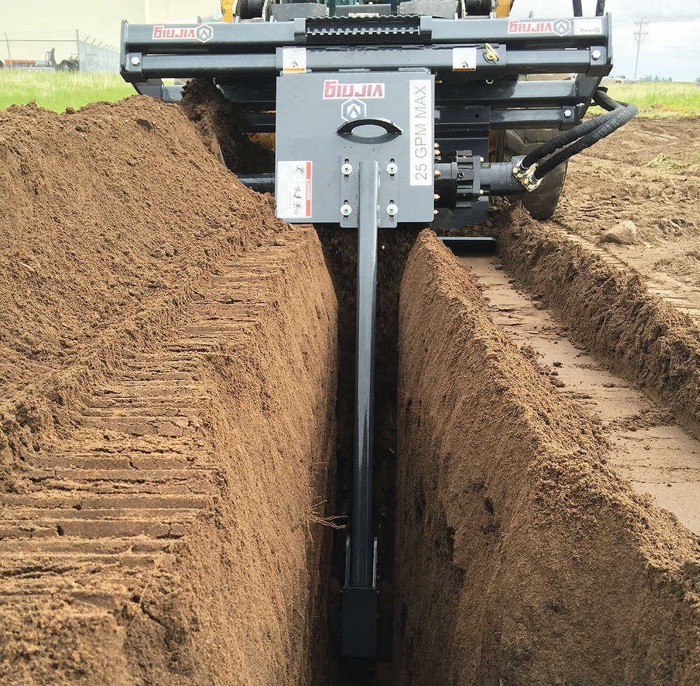 Virnig's trencher attachment is designed to quickly and reliably dig trenches 36, 48, or 60 in. (91, 122 or 152 cm) deep.