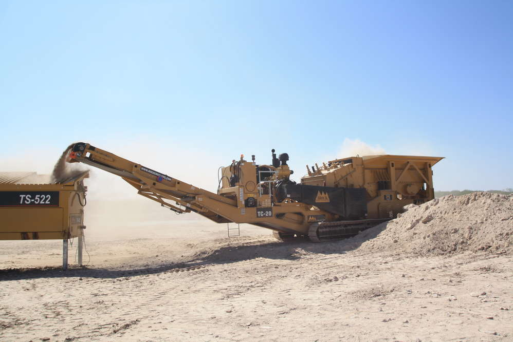 Wheeled mobile crushers can be hooked up to a truck and hauled to different locations or relocated on a job site. In the case of IROCK's RDS-20 crushing plant, units are self-contained, eliminating the need for additional diesel engines.