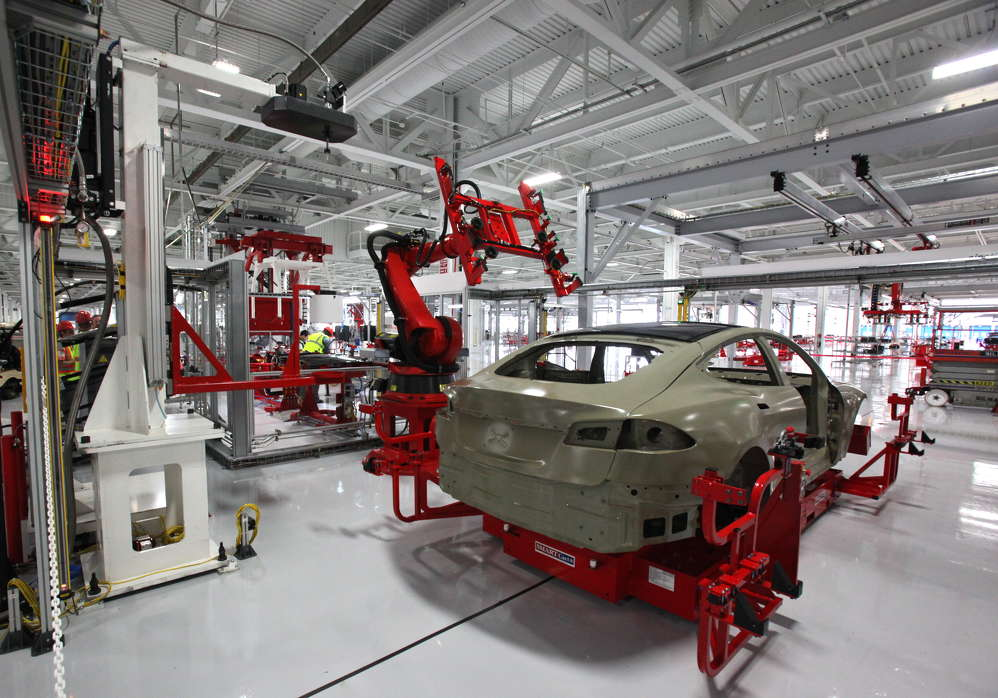 A Tesla Model S being manufactured at the Tesla Factory.  Image courtesy of Steve Jurvetson.