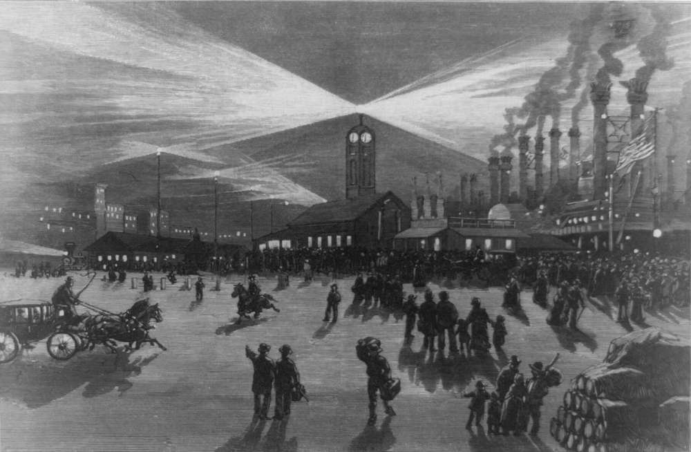 Library of Congress photo. New Orleans, La., lights up the levee in 1883.