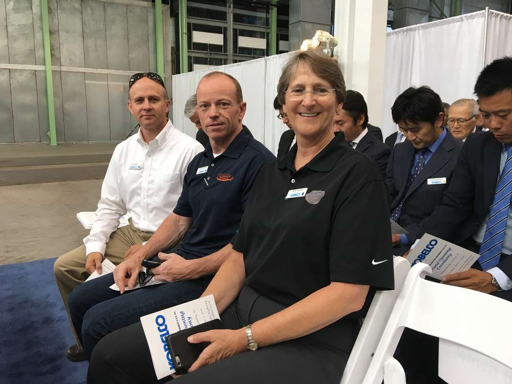 (L-R): Dick Mizzell and Brad Hutchinson, both of Company Wrench, and Tammy Parham of Neff Rental attend the event.