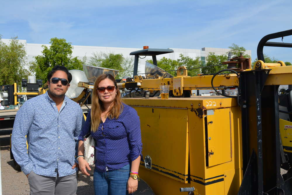 Alan Esparza (L) and Synthia Gutierrez of BMS Mining and Engineering were interested in this Tate light plant.