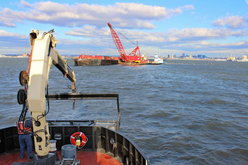 USACE Baltimore District photo. This dredging began the first week of March, and is reportedly being performed to ensure continued safe navigation in and out of the Port of Baltimore.