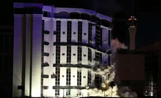 The 24-story Monaco Tower was demolished around 2:30 a.m. when a series of explosions sounded.