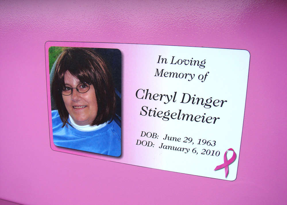 The Dingers plan on using the memorial trailer, which features a memorial decal of Cheryl, as part of their Relay for Life fundraising efforts, and will be part of their camp at the Relay for Life event.