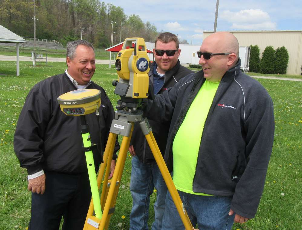 (L-R): Steve Hatfield, Nick Baker, and Paul Naylor, all of GeoShack, present Topcon's DS Series Robotic Total Station.