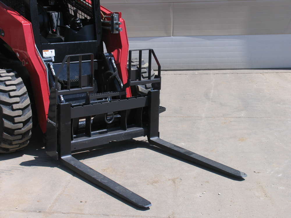 Paladin Attachments has expanded its Bradco Pallet Fork offering to include new Walk?Thru Pallet Forks, featuring an open design that allows the operator to step through the frame upon entry and exit for safe access to the loader.