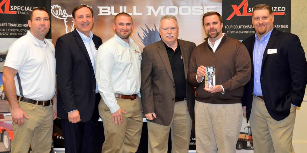 (L-R) are Hale's Marc Staley (sales representative); XL's Steve Fairbanks (president and CEO); XL's Garet Earles (regional sales manager); Hale's Bill Fryer (VP of sales); Hale's Barry Hale Jr. (general manager); and XL's Rodney Crim (VP of sales), as XL presents Hale with its 2015 Dealer of the Year award.