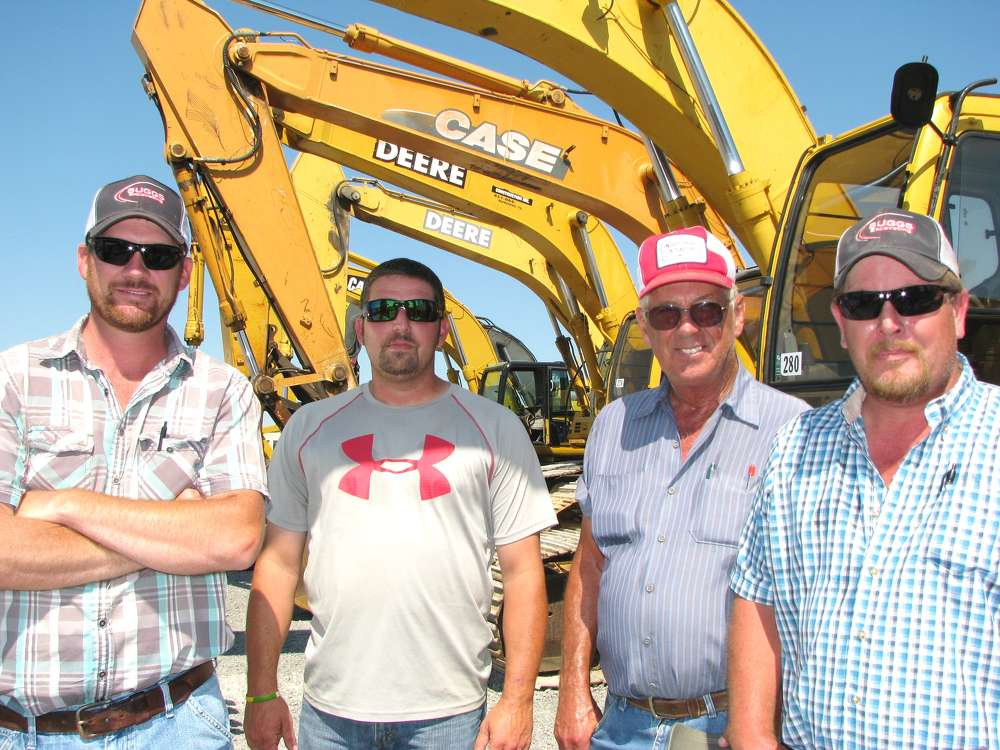 (L-R) are Jeffrey Suggs, Suggs Excavating, Dickson, Tenn; Aaron Green, Trotter Construction, Clarksville, Tenn.; and Tom Adkins and Shawn Atchison, also of Suggs Excavating.