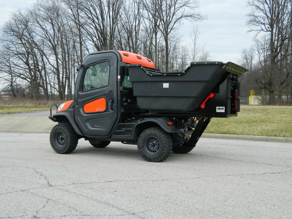 Shown here on a Kubota utility vehicle, this unit is built for municipal, park and industrial use.