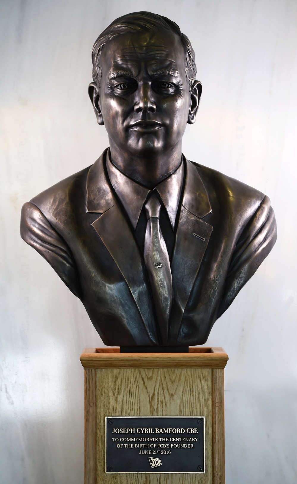 The 100th anniversary of the birth of JCB's founder was marked with the unveiling of a specially commissioned bronze bust.