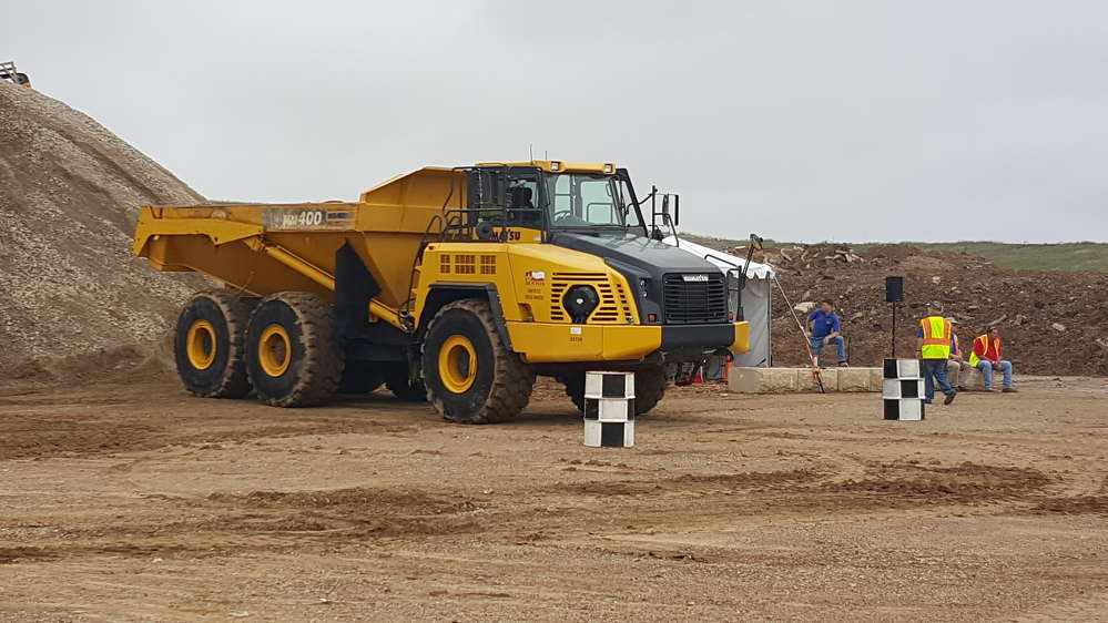 This Komatsu HM400-3 articulated truck, provided by the city of Denton, was used in the Road-E-O competition.