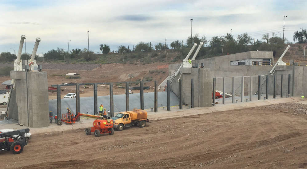 The new dam is the largest hydraulically-operated steel gate dam system in the nation.