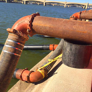 The pump system consisted of four 12-ft. (3.7 m) pipes that removed between 25 and 50 cu. ft. (19 and 38 cu m) of water per second.