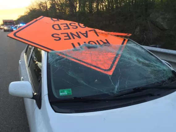 Image courtesy of NEWS10.After striking the sign, it went through the windshield, striking the driver in his head.