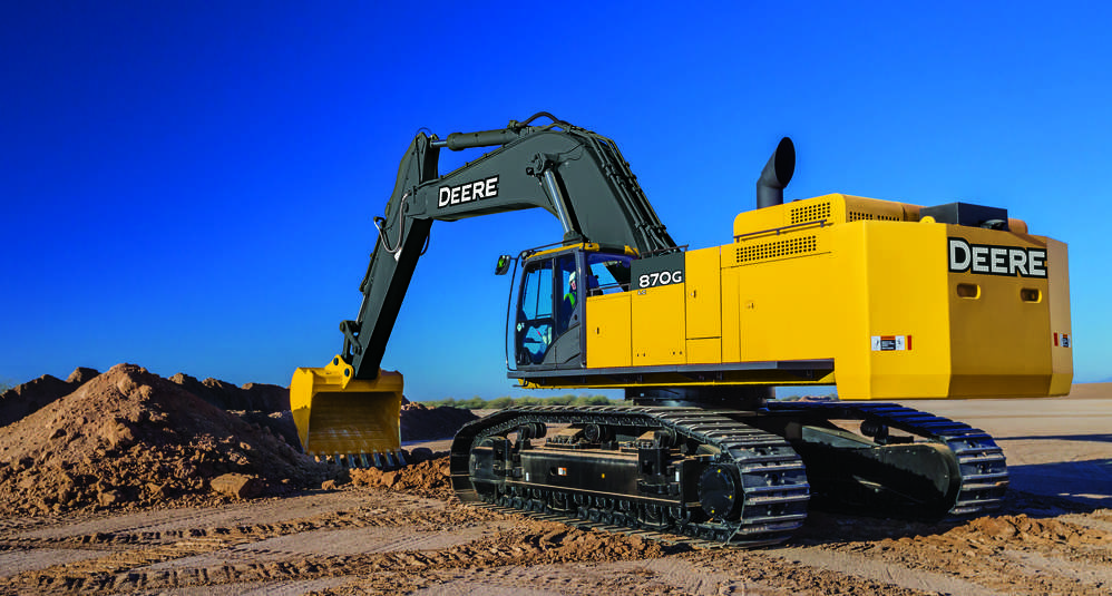 The 87-ton production class excavator is easy to service with such features as a battery disconnect switch, spin-on fuel filters and two additional water separators to maintain long fuel filter life.