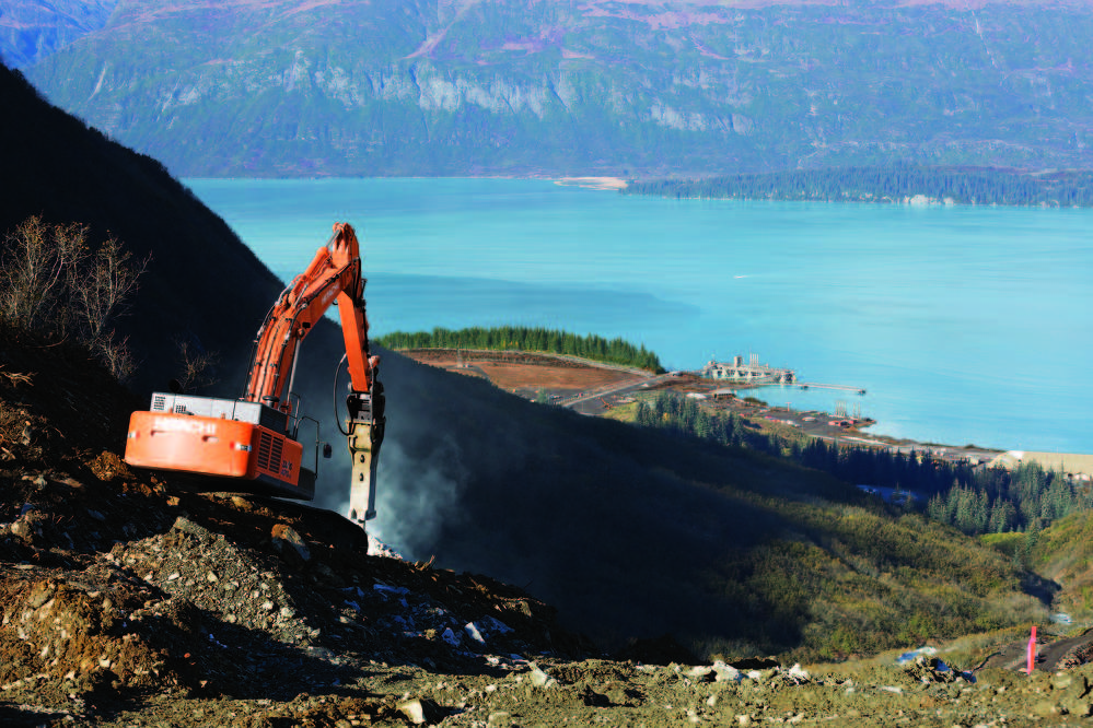 In the Chugach Mountains, about 1,310 ft. (399 m) above the city of Valdez, Alaska, Hitachi excavators are helping to deliver sustainable solutions by working on a hydroelectric site.