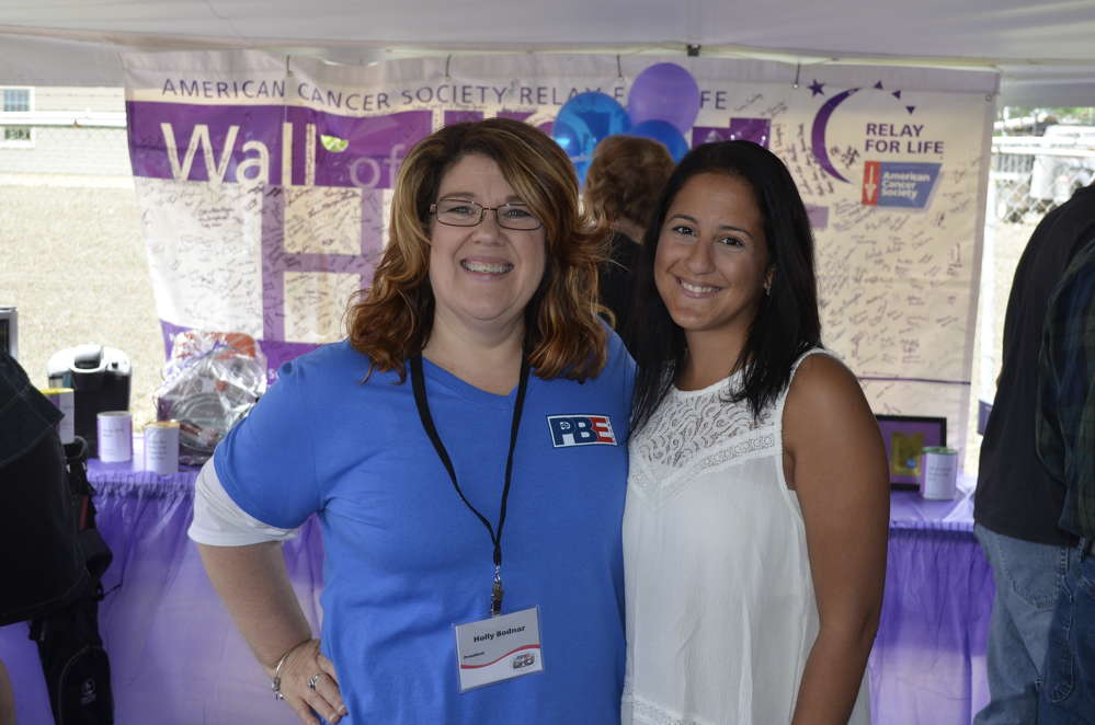 Pine Bush Equipment has been committed for many years to supporting local charities and organizations, including the American Cancer Society's Relay for Life. Holly Bodnar (L), president of Pine Bush Equipment, thanks Liza Fragola for her continued efforts supporting the Relay for Life.