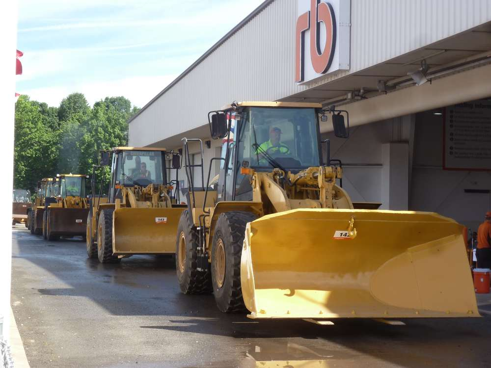 More than 50 wheel loaders rolled over the auction ramp during the Ritchie Bros. sale in North East, Md.