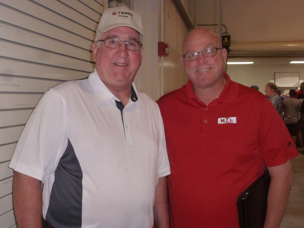 David Naab (L), regional business manager-East, Terex Cranes North America, and Jerry Davis, territory manager of ML Cranes & Equipment, Baltimore, Md., are ready for the big sale in North East.