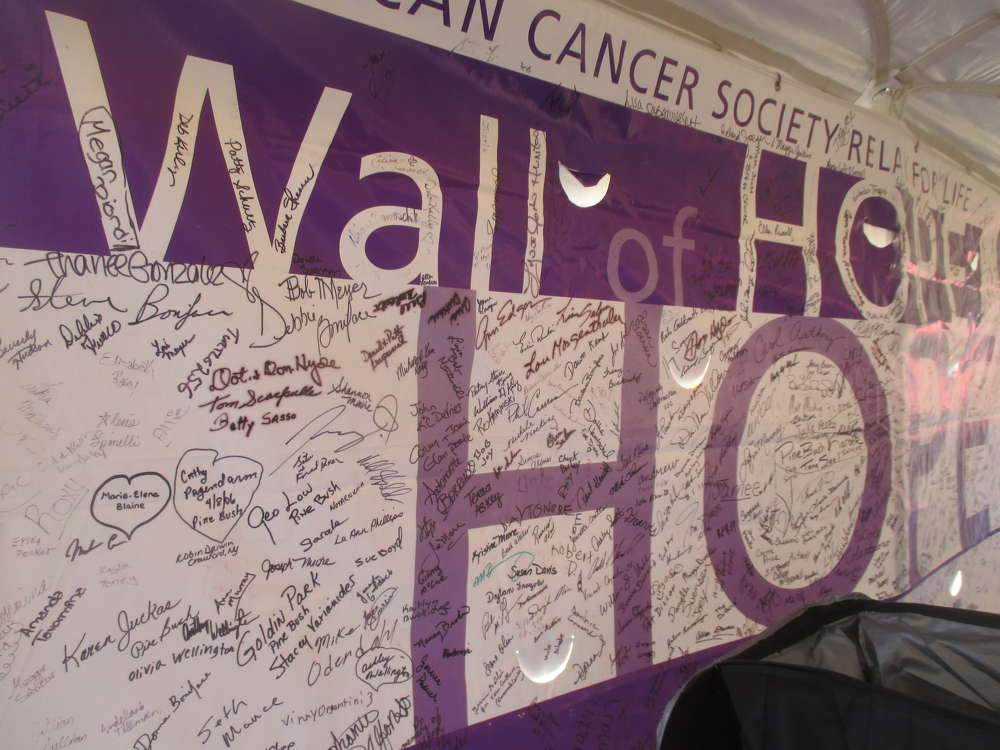 Guests left messages of support on Relay for Life's Wall of Hope.