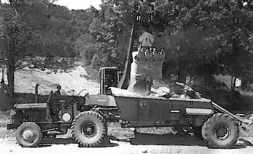 A Bucyrus-Erie 38-B shovel loads a Euclid belly dump on the Broadalbin job on Aug. 8, 1948.