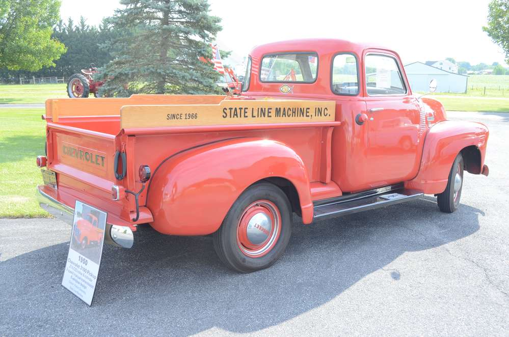 A restored 1950 Chevrolet 3100 pickup was just one of many vintage models of trucks and equipment on display during State Line Machine's 50th anniversary open house.