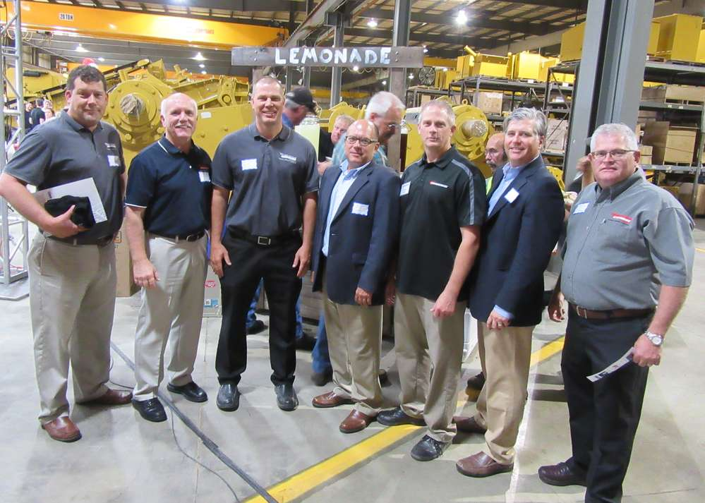 (L-R): Murrysville Machinery Company's Will Sutter, Pat McBroom, Denny Burt and Doug Caylor, along with Screen Machine's Tim Miller and  Murrysville Machinery Company's Rod McMahon and Sam Stimmel, enjoyed the 50th anniversary celebration.