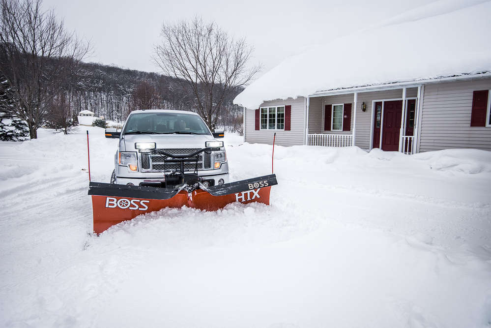 The Boss HTX V-plow is available in mild steel and features a full moldboard trip design to minimize plow and truck damage when encountering obstacles.