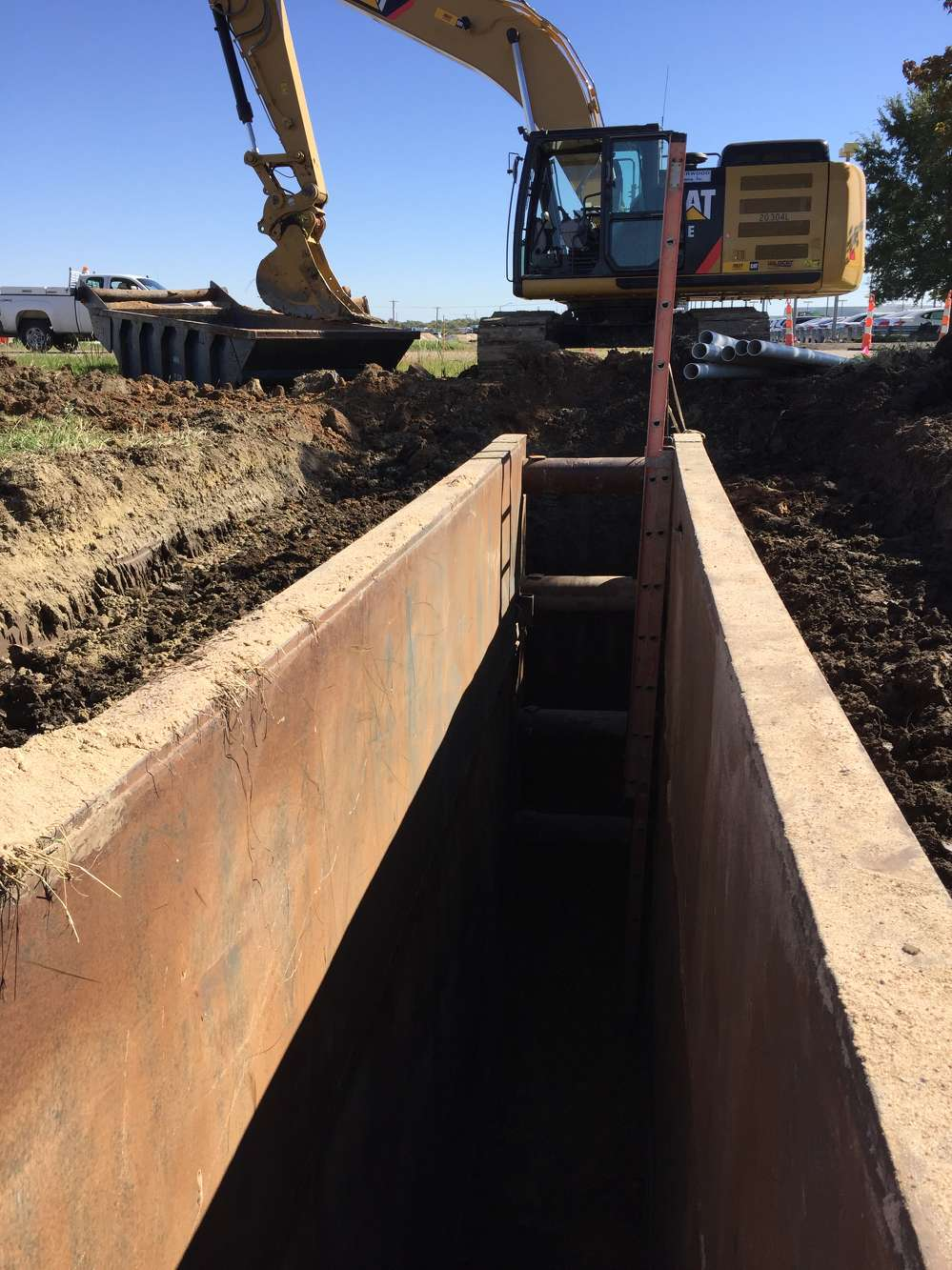 """KDOT photo. """"The project is nearing the end of the first phase of construction —   utility work,"""" said Gary Janzen, PE, Wichita's city engineer."""