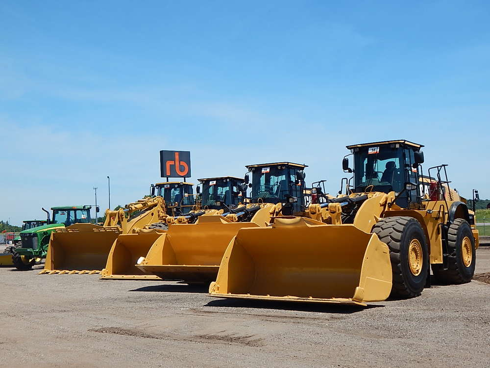 More than 1,600 equipment items and trucks were sold in the auction, including more than 45 wheel loaders.