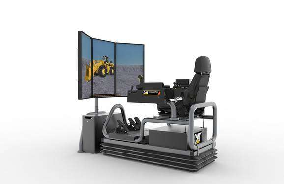Cat simulators new large wheel loader simulator system features a three-monitor configuration that increases operator visibility in all directions.