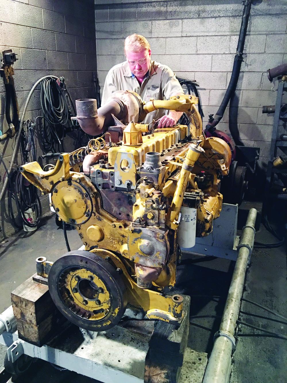 Mitchel Griffin dyno tests a Caterpillar 3306 engine.