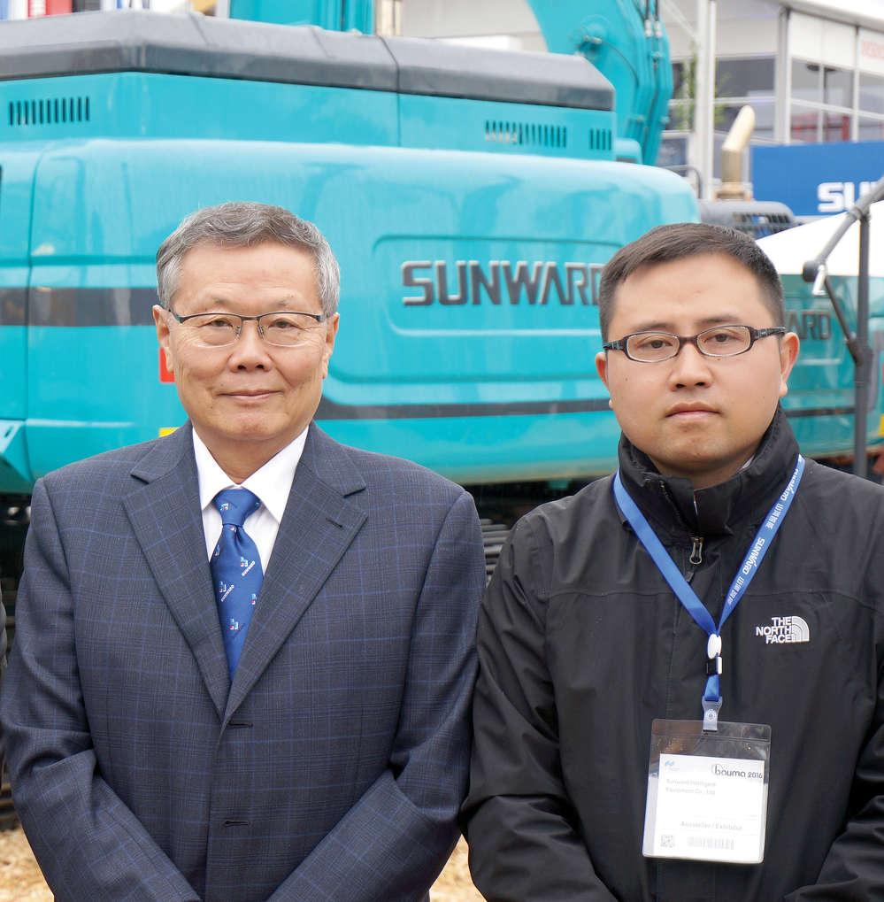 Sunward Equipment Founder He Qinghua (L) and Jun Wang, general manager of Sunward N.A.LLC.