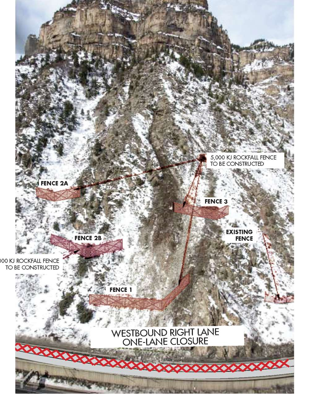 CDOT photo. Permanent mitigation measures will create a structural barrier to accommodate potential future rock slides.