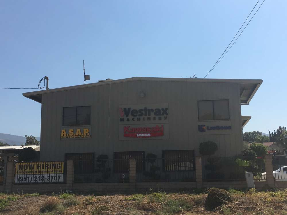 Westrax Machinery's facility in Corona, Calif., is located on 19885 Temescal Canyon Road.