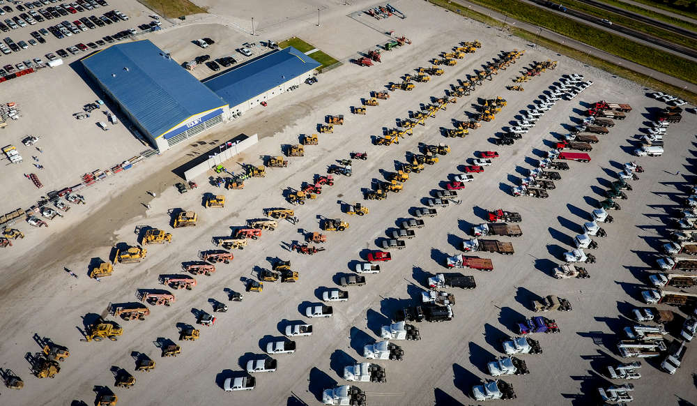 A drone captures just how much iron is available for sale at Equify's June sale in Cisco, Texas.