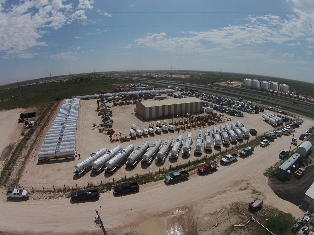 A drone captured the array of equipment available at the absolute truck and equipment public auction that took place June 15 in Stanton, Texas.