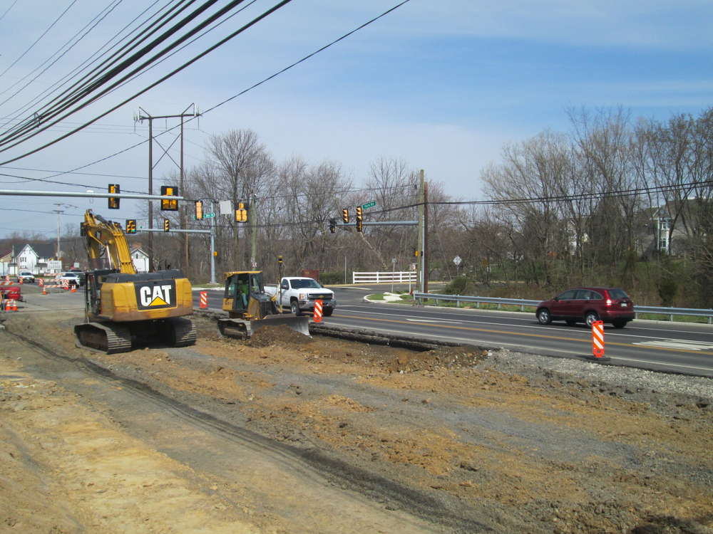 PennDOT photo. The plan has J.D. Eckman crews splitting the work into two phases — from Sugar Bottom Road to Meyer's Way (Phase One) and between Myer's Way and Bristol Road (Phase Two).