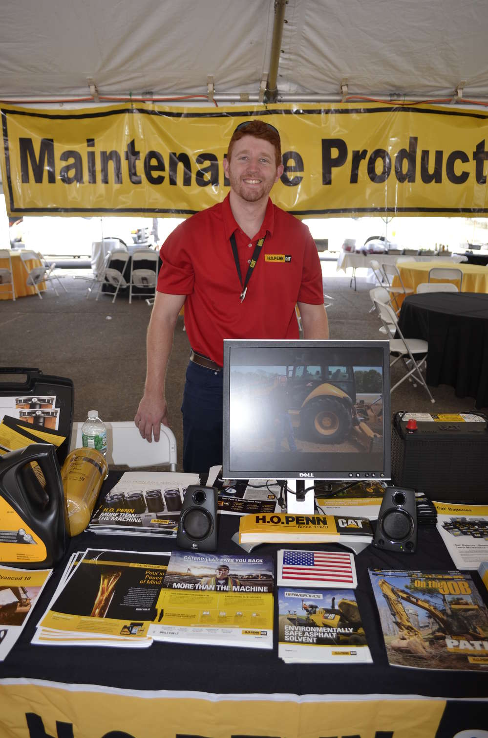 Dan Slate of H.O. Penn shows a few of the hundreds of maintenance products available from Caterpillar and H.O. Penn.