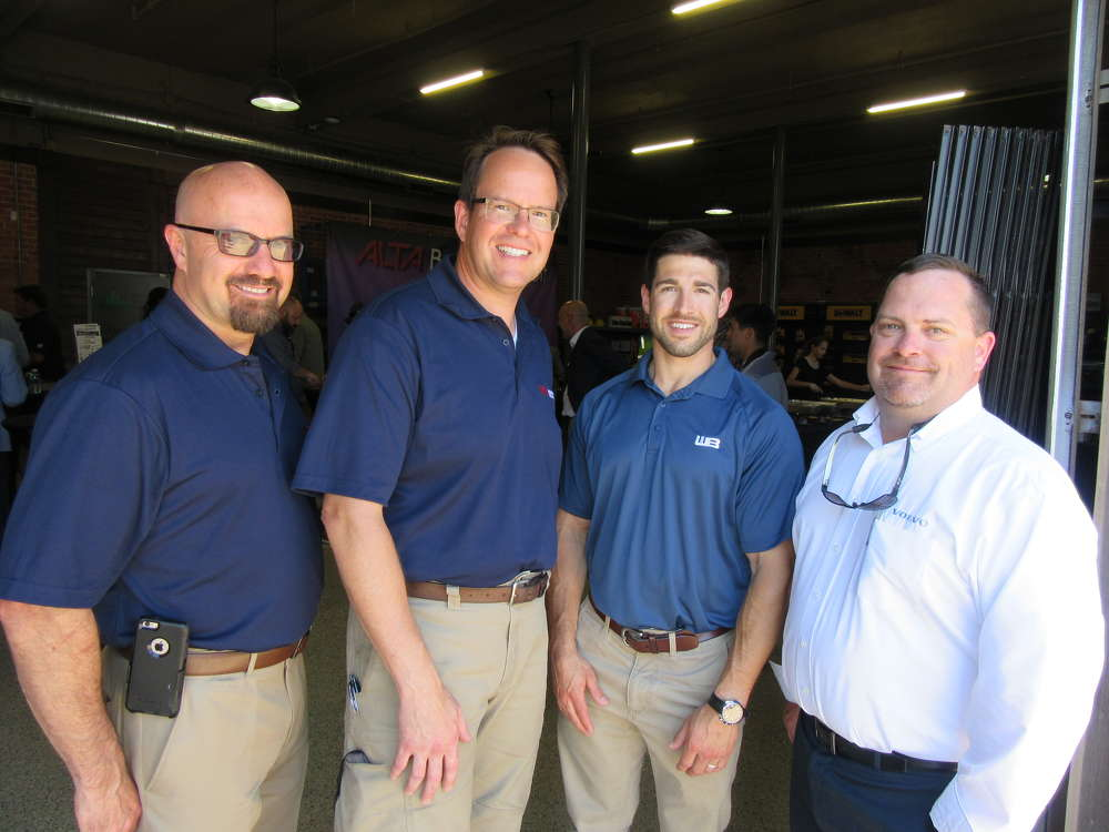 (L-R): Dan LaForge and Dan Flis, both of Alta Equipment Company; Trevor Ballinger of Werk-Brau; and Craig Newbold, Volvo district business manager, celebrate the grand opening of Alta's Detroit facility.