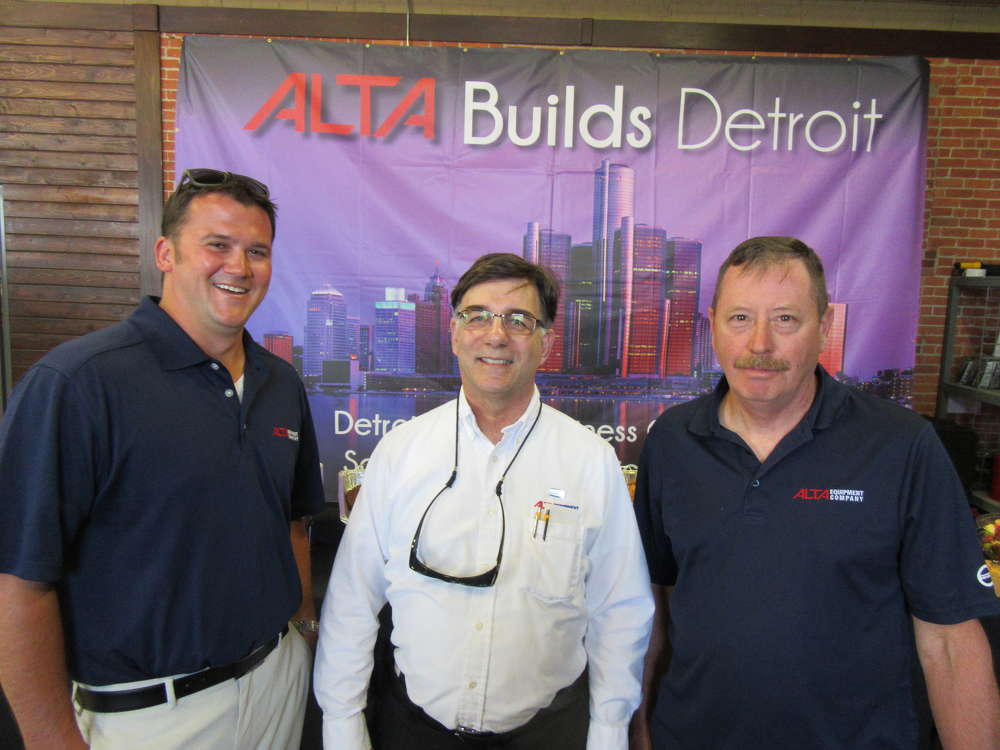(L-R): Jason Glass, Dana Dent and Jim Sykes, all of Alta Equipment Company, welcome attendees to the dealership's Detroit grand opening.