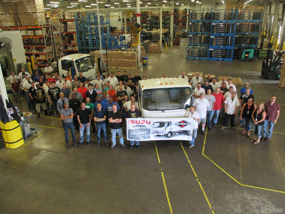 The 30,000th gasoline-powered Isuzu N-Series truck has been produced at the Spartan Motors Inc. facility in Charlotte, Mich. The truck rolled off the line on June 10, 2016.